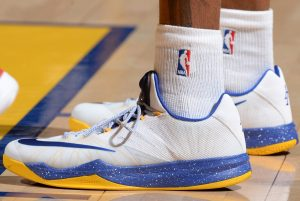 OAKLAND, CA - MAY 21:  The shoes of Andre Iguodala #9 of the Golden State Warriors are seen against the Houston Rockets  in Game Two of the Western Conference Finals during the 2015 NBA Playoffs on May 21, 2015 at ORACLE Arena in Oakland, California. NOTE TO USER: User expressly acknowledges and agrees that, by downloading and or using this Photograph, user is consenting to the terms and conditions of the Getty Images License Agreement. Mandatory Copyright Notice: Copyright 2015 NBAE (Photo by Andrew D. Bernstein/NBAE via Getty Images)