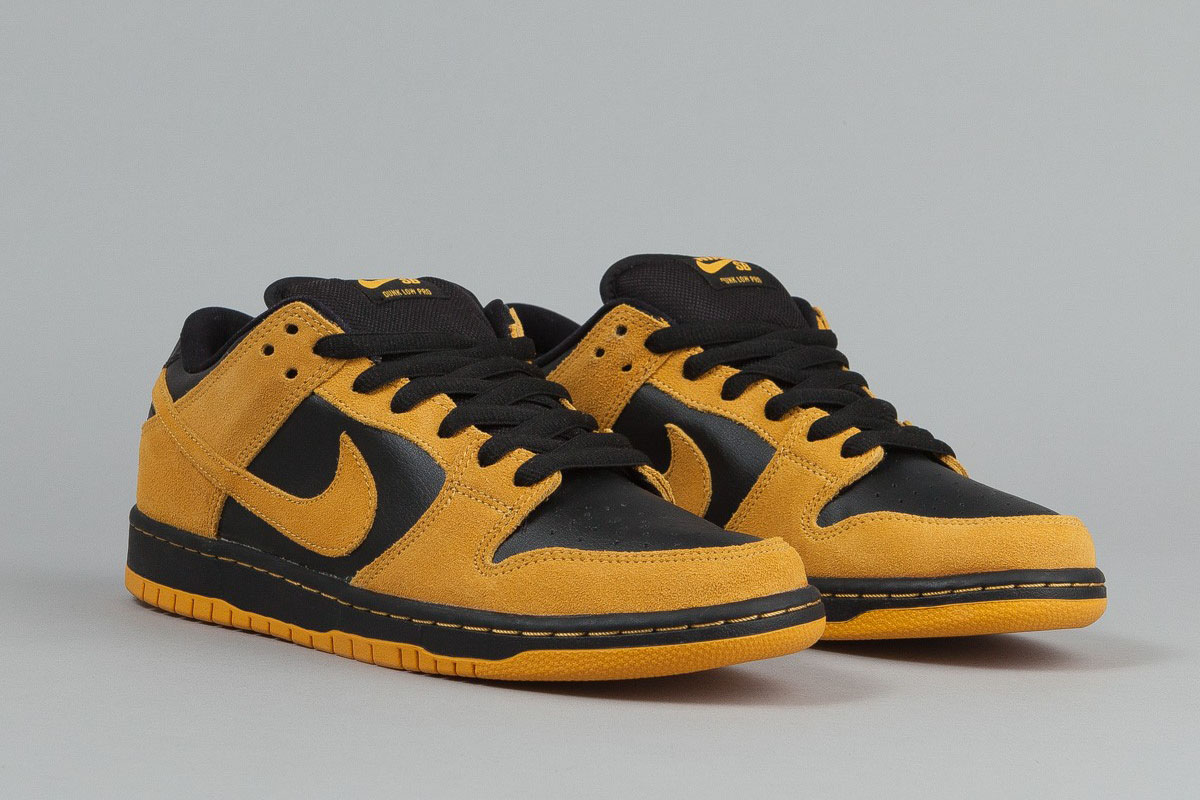 NIKE Skateboard Shoes Dunk University Low Pro University Dunk Gold/Black b09831
