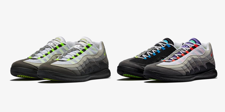 new product ffebb ae44d Roger Federer 戰靴跨界合體/ NikeCourt Vapor RF x AM95 'Neon ...