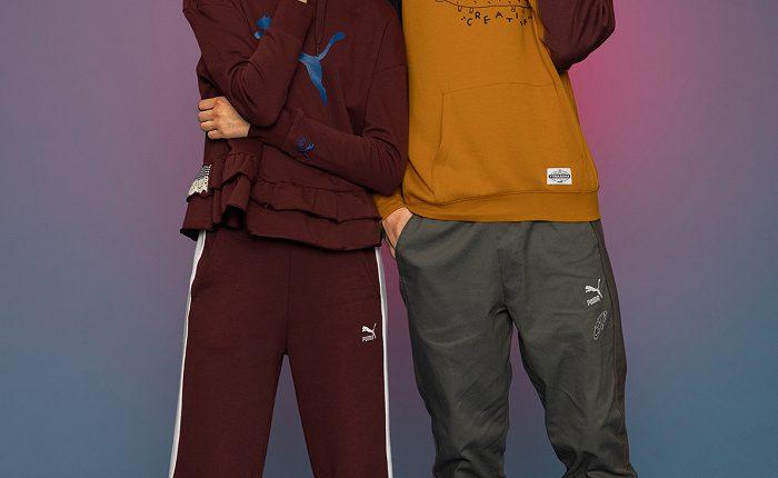PUMA Roma Tyakasha NT$3,580(左鞋)、Tyakasha系列長厚連帽T恤NT$2,880、Tyakasha系列長褲NT$2,480、RS-X TYAKASHA NT$4,280(右)